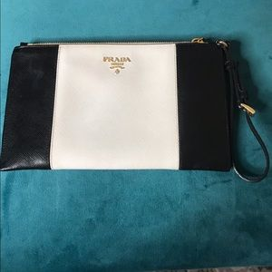671410eb89c6 Prada Bags | Madras Woven Leather Pochette Clutch Yellow | Poshmark